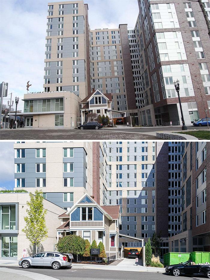 蘭德阿克拒絕出售他的小女王安妮維多利亞首頁在市中心波特蘭,所以他們建立了巨大的波特蘭州立大學宿舍周圍