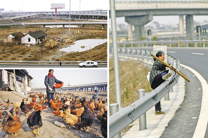 農民生活在三條高速公路之間。 百家萬戶被拆遷,但政府無法與家人達成共識