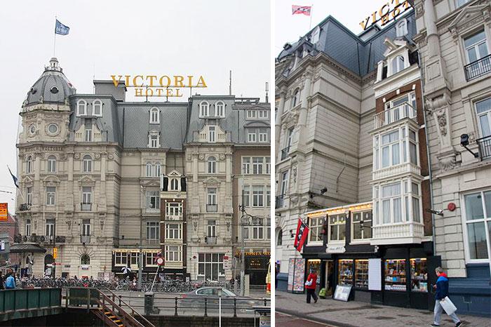 這家酒店的創始人不能買這些房子由於高昂的要價。 所以酒店建在兩座建築物周圍,而他們現在是紀念品商店