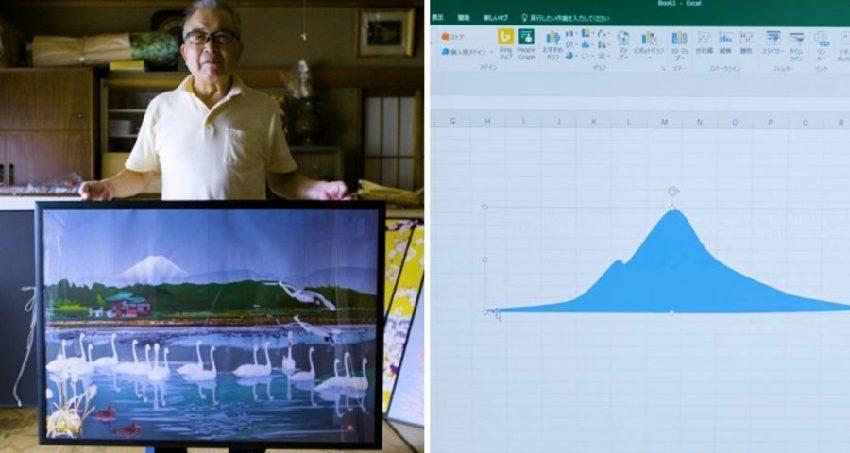 誰說Excel只能統計!畫畫太難日本77歲爺爺「用Excel畫畫」屌打年輕人!櫻花那幅美到得藝術大賽冠軍!(11張)